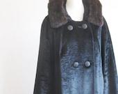 Vintage 1960s Crushed Velvet Opera Coat Mink Collar Lane Bryant Designer 60s Mid Century Mad Men Fashion Midnight Black Formal Drama