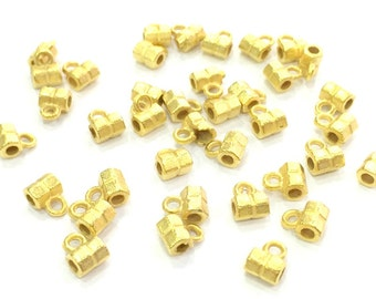 20 Pcs (6x4 mm)  Gold Plated Tiny Tube Beads   G4511