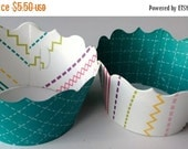 CLOSEOUT SALE Teal and Multi colored striped Cupcake wrappers SET of 12