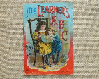 Vintage Little Learners ABC linen book 1899