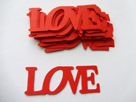 Love Die Cuts Valentines Day Red Valentine die cut out word
