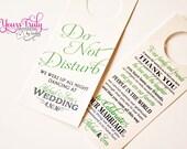 Custom do not disturb door hanger for a wedding or guest basket