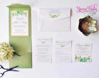 Sample - Green and Gold Watercolor Flowers Wedding, Rehearsal or Party Invitation Custom in Your colors