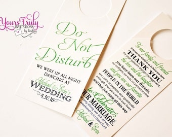 Custom do not disturb door hanger for a wedding or guest basket