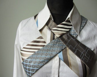 Steampunk Harness from Repurposed Neckties, Upcycled Recycled Clothing, Necktie Harness, Unique Hipster Tops, Necktie Vest, Steampunk Vest