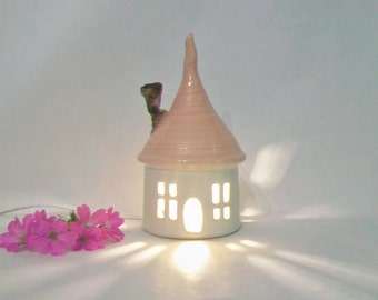 Garden Fairy House/ Night Light - with a Pink Roof, a  Chimney  - Made by hand on the Potters Wheel - OOAK  - Ready to Ship -- Actual House
