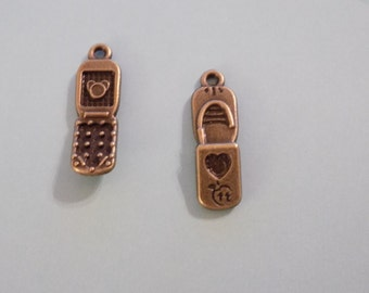 Last set of 30 antique bronze cell phone charms