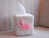Bunny Rabbit Tissue Box Cover, Storage, Cozy, Nursery Decoration, Crochet, Pink and White Holder