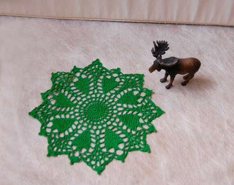 Woodland Trees Crochet Doily, Country Table Decor, Green Lace, New