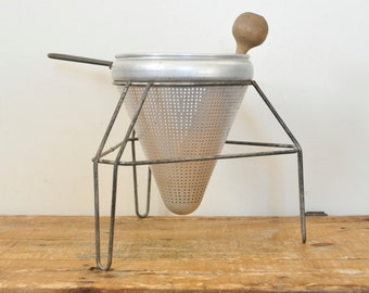 Vintage Aluminum Food Strainer Ricer Stand Wood Pestle
