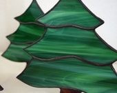 "Stained glass tree Christmas holiday free standing decoration green streaky glass 7"" tall"