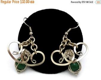 ON SALE Green Jade Earrings Wire Wrap Dangle Earrings Boho Earrings Chandelier Earrings Silver Drop Earrings Bohemian Earrings Green Earring