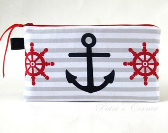 Handmade pencil bag with zipper -  Anchor and rudder - Red and navy - makeup bag - storage bag - ready to ship