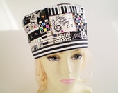 Vintage Music Hat, Musician Hat, Black and White Hat, Pillbox Music Hat, OOAK Hat, Music Notes Hat, Let the Music Play, Piano Hat