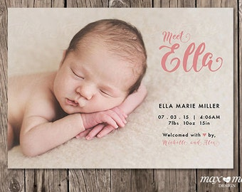 Birth Announcement Card, Made to Order, Custom - 5 x 7in