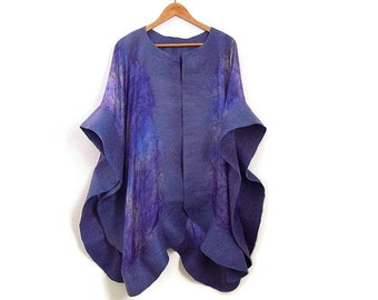 felted silk poncho, purple shawl, wrap