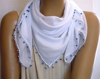 White cotton scarf with evil eye beads