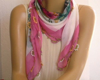 Turkish scarf, pink white flower, needle lace, oya, square, summer scarf