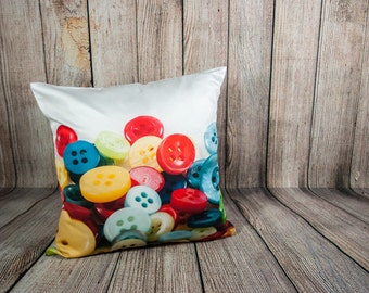 Craft Room Decor, Peridot Button Photo Pillow Cover, Novelty Decorative Cushion, White, Red, Bright Cobalt, Misted Yellow, Seamstress Gift