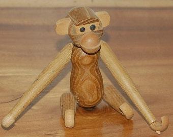 "Vintage Teak Monkey ~ Zoo Line Style ~ 6.5"" Hanging ~ 1st of 2 ~ Hans Bolling ~ ERA ~ Danish Modern ~ Mid Century ~ Bojesen Era"