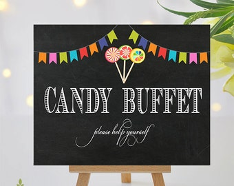 Printable Candy Buffet Sign - 8x10 and 5x7 Included -  Instant Download