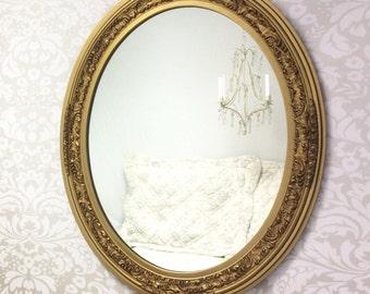 "DECORATIVE VINTAGE MIRROR For Sale  Large Oval Gold Mirror 34""x28"" Mantel Mirror Ornate Gold Vintage Framed Mirror Home Large Framed Mirror"