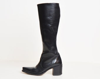 Vintage 90s Tall DKNY BOOTS / 1990s Black Leather Knee High Boots 5.5