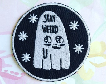 ON SALE Ghost patch, glow in the dark Stay weird, creepy cute, halloween, spooky set, tumblr, 90's pin style, halloween, jean jacket