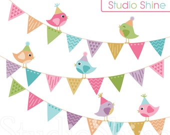Digital Clipart, Everyone's Invited, Cute Birds Clip Art, PNG Files Vector EPS Instant Download Clipart Personal and Commercial Use