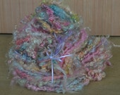 Lockspun Art Yarn made with Kid Mohair Pink/Blue/Apricot/Yellow/Green