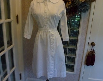 Vintage 50s 1950s 60s 1960s White Nurse Uniform Sleeve Snap Front M Medium