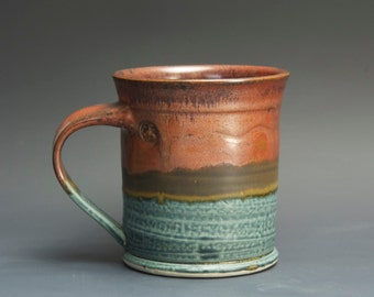 Handmade pottery coffee mug, ceramic mug, stoneware tea cup 14 oz mug  3098