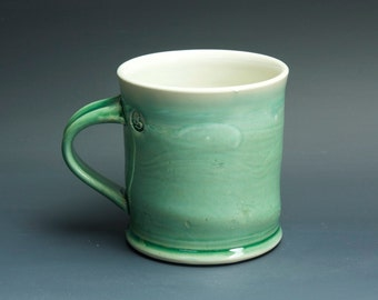 Pottery coffee mug, ceramic mug, stoneware tea cup jade green 14 oz 3383