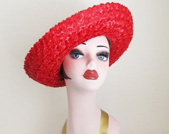 40% OFF SALE Vintage Red Straw Hat / 1960's Short Brim Summer Party Sun Hat