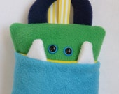 Tooth Pillow | Turquoise, Green, and Yellow Tooth Monster | Tooth Fairy Monster Pillow