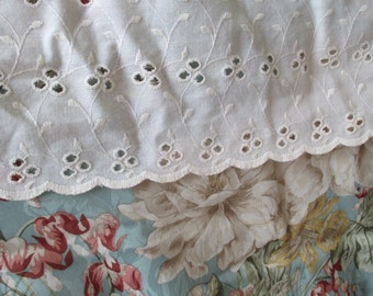 Vintage King Size Bed Skirt Dust Ruffle Eyelet Lace, Ecru, Ivory,  JC Penney