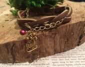Santa's Sleigh Christmas Bracelet - Braided Leather with Charm