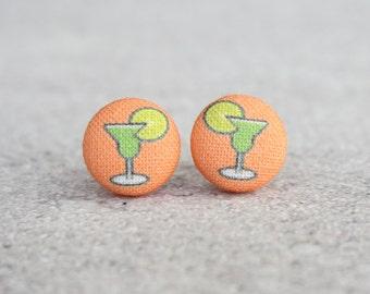 Margarita Fabric Button Earrings