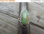 ON SALE American indian turquoise ring handmade in sterling silver