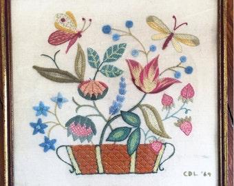 Vintage Jacobean Crewel, Vintage Crewel, Vintage Floral Crewel, Flower Crewel, Jacobean Floral, Jacobean Flower, Butterfly