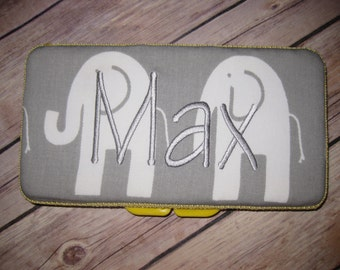 Travel Baby Wipe Case /Yellow Grey White Elephants- Personalization Available
