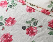 Vintage 1930 FABRIC - Linen  Material - Pink Roses - Light Yellow Background - Hollywood Glamour
