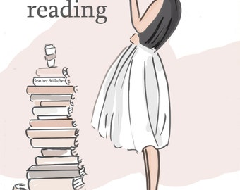 Book Art  - Just Keep Reading - Quotes - Art for Women - Quotes for Women  - Reading -  Art for Women - Inspirational Art