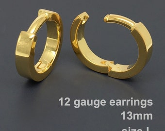 12 gauge earrings, men's hoop earrings, gauged hoop earrings, gauge cartilage earrings, gold hoop earrings, 12G conch earrings, E190SY 12G