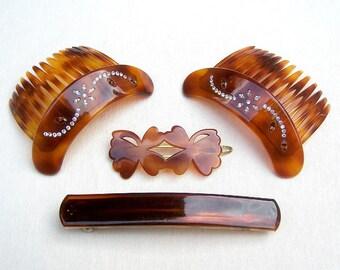 Vintage hair barrettes hair comb 4 mod style mid century hair accessory hair clip hair slide hair jewelry hair ornament (ABD)