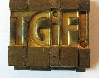 Vintage Ludlow Mats Matrices Brass TGif Tempo Bold Condensed 60 pt Printing Type