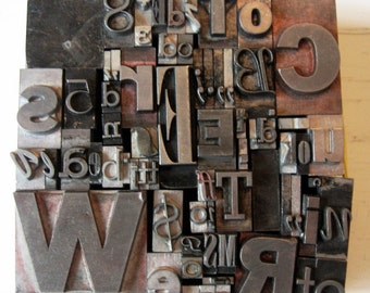 Mixed Metal Letterpress Type Vintage Altered Art Home Decor Printing