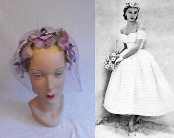 A Pansy Wedding - Vintage 1950s Large Lavender Pansy Floral Bandeau Half Hat Fascinator w/Veil