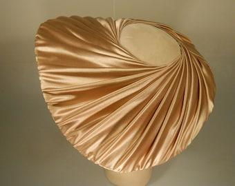 Pink Champagne - Vintage 1950s Champagne Pink Gathered Satin Wave Cartwheel Oval Platter Dish Wide Brim Hat