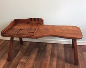 Rustic Cobblers Bench Hand Peg Legs, Antique Wood Maple Cobbler's Table Curved Solid Wood Entry Vintage Gossip TelePhone Bench